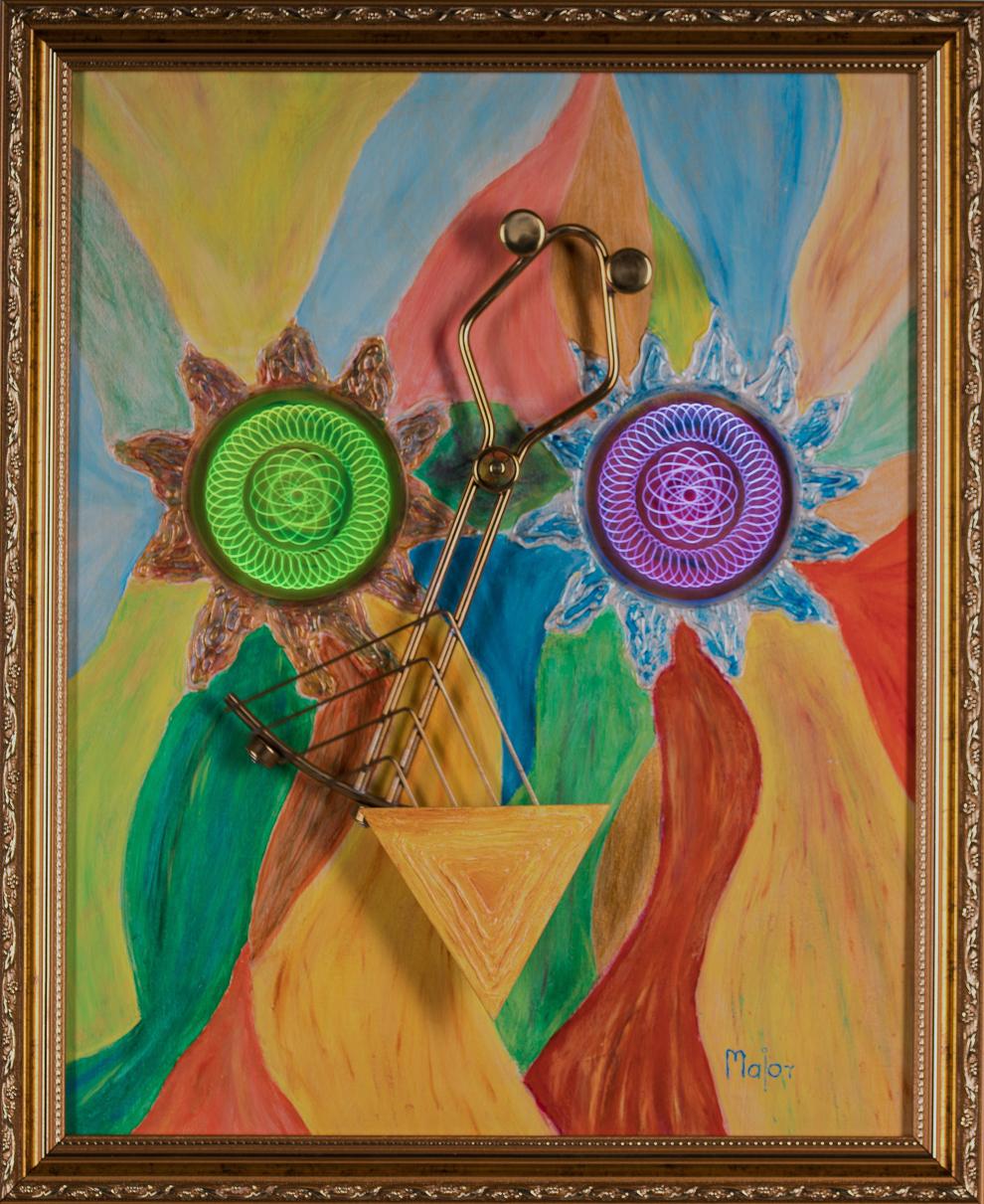 A gyermeki játékosság, a tavasz beteljesedése jellemzi ezt a képet. A festmény különlegessége, hogy egyszerre fénylő és kinetikus is. A változatos színvilág barátságossá, és szeretettel telivé varázsolja az alkotást. A színek játékát a selyemfényű lakkozás teszi teljessé. Ezzel a festménnyel, inspiráló tavasz hangulatú környezetet idézhet otthonába.